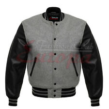 Best Varsity Wool Letterman Jacket Gray with Black Real Leather Sleeves