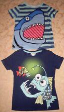 H&M Boys SURF (Size 2-4) SHARK / PIRANAH Short Sleeved (2 Pc) CASUAL T-Shirts VG