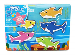 Cardinal Industries 6053347 Pinkfong Baby Shark Chunky Wooden Sound Puzzle - The