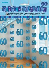 GLITZ BLUE 6 HANGING DECORATIONS 60TH BIRTHDAY 1.5M/5' BIRTHDAY PARTY SUPPLIES