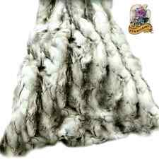 FUR ACCENTS Exotic Rabbit Faux Fur Throw Blanket Black, Gray and White  5'x6'