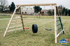 ARIZONA: Monkey Bar Swing Set: Jungle Gym, Wooden Climber, Cargo Net, Outdoor
