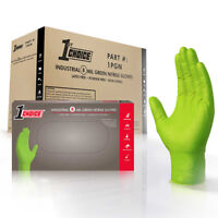 1st Choice Mechanic Latex Free Disposable Green Nitrile 8 Mil Gloves Non Vinyl