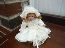 Vintage Victorian Porcelain Mini Doll with Lace Dress and Blonde Curls