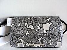 Brahmin Carina Satchel Black Silver Diamondback Floral Leather Evening Bag NWT