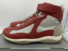 Prada Calzature Uomo Red/Gray Men Shoes High Top Sneakers Size 11.5