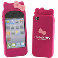 New Cute Hello Kitty Rubber Silicone Cover Soft Case For iPhone 4S 4G 4 Bow Case