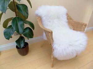 REAL FUR White Sheepskin Thick Soft Wool Genuine Natural XXL Area Rug 120-130cm