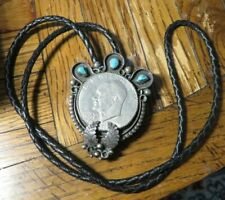 VINTAGE STERLING SILVER TURQUOISE BOLO LEATHER EISENHOWER DOLLAR NECKLACE (F57)