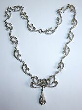 A VINTAGE 1950s SILVER TONE NECKLACE FULLY SET WITH MARCASITES