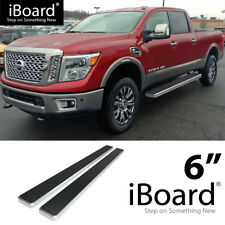 Running Board Side Step Nerf Bars 6in Silver Fit Nissan Titan Crew Cab 04-18