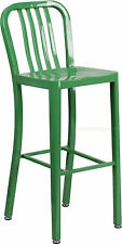 Mid-Century Green 'Navy' Style Bar Stool Cafe Patio Chair In-Outdoor Commercial