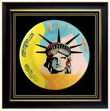 PETER MAX ORIGINAL Ceramic Plate PAINTING Signed LIBERTY HEAD Pop Art Acrylic