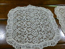 "2 Vintage Schiffli Chemical lace Doilies Table Toppers Beige - Floral 13.5 x 13"""