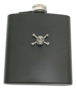 Skull & Cross Bones Matte Black Stainless Steel Hip Flask Personalised 415