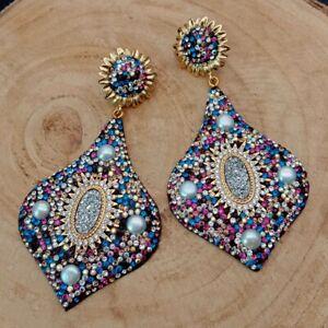 White Pearl SilvertitaniumAgate Druzy Multi color Macacrsite Stud Earrings