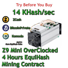 Z9 Mini OC 14 KSol/sec Guaranteed 4 Hours Mining Contract Equihash (Zcash)