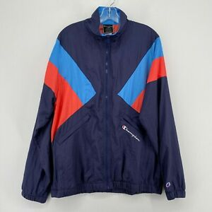 Champion Full Zip Nylon Track Jacket Mens XL Blue Red Colorblock Sports Casual