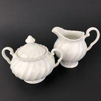 Johnson Brothers Regency Cream & Sugar White Swirl Pattern England Pre-owned