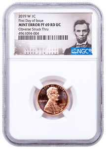 2019 W Proof Lincoln Cent Obv Struck Thru NGC PF69 Mint Error FR CPCR5 SKU64022