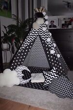 kids childrens hand made black and white teepee tipi wigwam tent mat and poles