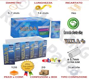 Rizla UltraSlim Sigarette Ultra Slim Extra  5.7mm Filtro Scatole DA 120 Filtri