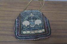 "Antique Arts & Crafts Woman Handmade Hand Embroidered Handbag Purse 6"" x 6"""