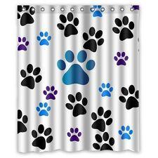 Sea Secret Dog Paw Prints Waterproof Fabric Polyester Bathroom Shower Curtain 12