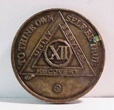 Alcoholic 12 Year Recovery 12 Yr Chip Medallion Coin Token AA Anonymous USED