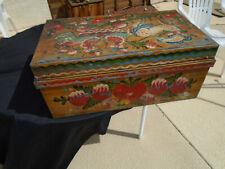 New listing Rare Tole Painted Tin Trunk Box folk art Pa Dutch Hearts Carnival Nice