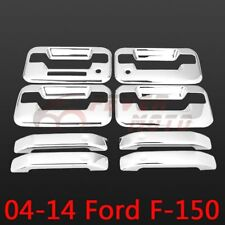 For 2004-2014 Ford F-150 Chrome Side Door Handle Cover w/Keypad+PSG Keyhole FM