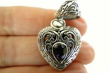 Heart Purple Amethyst Solitaire 925 Sterling Silver Pendant