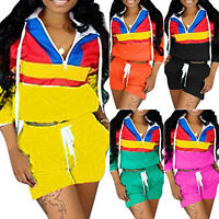 Women Sports Tracksuits Long Sleeve Hoodies+Drawstring Shorts Hot Pants 2Pcs Set