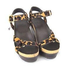 K-TB4082 New Tory Burch Loepard Leather Sandals Flips Thong Shoes Size 39 Sz 9