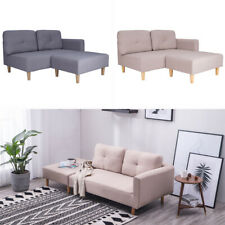 2-3 Seater Corner Sofa Linen Fabric Settee Loveseat Chaise Lounge with Footstool