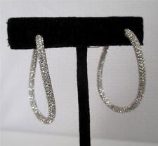 NADRI Micro Pavé Crystal Wave Hoop Hinged Earrings Rhodium Plated