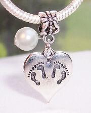 Twins Footprint Heart June Birthstone Pearl Dangle Charm for European Bracelets