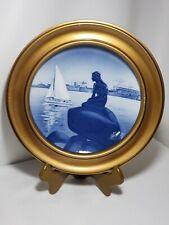 "Vintage Royal Copenhagen Mermaid & Sailboat Plate 8"" In Gold Solid Wood Frame"