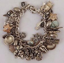 CHARM BRACELET W/ 40+ STERLING SILVER CHARMS ANGELS FLOWERS SHELLS, 143 grams