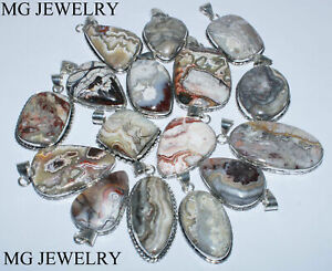10 Pcs Natural Lot Mexican Crazy Lace Agate Gemstone 925 Silver Plated Pendants