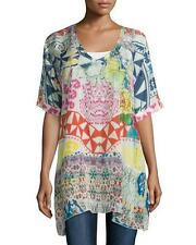 NWT Johnny Was 2X Multicolor Floral Butterfly V Neck  Printed Rayon Tunic Top