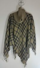 Womens Tartan Shawl Cape Wrap Top Blogger Urban Chic Cowl Neck Knitted One Size