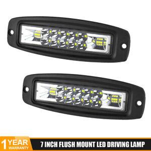 2x 7inch LED Work Light Bar Flood Spot Combo Fog Driving Lamp Offroad Truck SUV