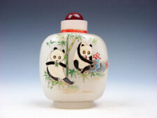White Enamel Glass Panda Plum Blossoms Hand Painted LARGE Snuff Bottle #08211910