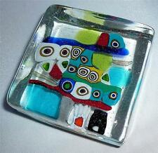 STUNNING RETRO MURRINA D'ART VENEZIA ITALY MILLEFIORE GLASS SQUARE PAPERWEIGHT