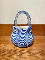 Hand Blown Art Glass Handbag/Purse Vase Blue Swirl on White