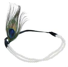 Gatsby Hair Accessories 1920s Flapper White Pearl Bead Headband Peacock Feather