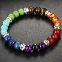 7 Chakra Healing Balance Beaded Bracelet Lava Yoga Reiki Prayer Stone Gifts