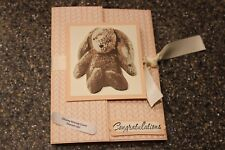 """Stampin up Baby Powder Pink Bunny """"Congratulations"""" Bundle of Love 7152"""