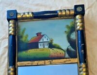 Antique Split Column Mirror with Painting on Glass See pics 12 x 22 1/2